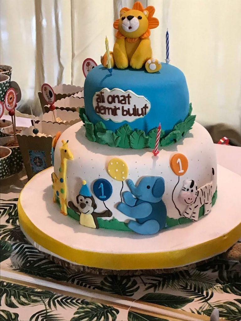 1 yaş doğum günü - hayvan temalı doğum günü pastası